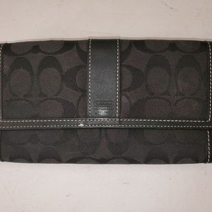 Vintage Black Coach Tri-Fold Clutch